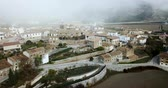 navarre : Aerial view of Liedena cityscape - typical village of Navarre in autumn day, Spain