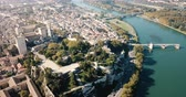 avignon : Aerial view of the river in sunny autumn day, France