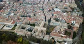 navarre : Aerial view of Pamplona - Spanish old town with running of the bulls Stock Footage