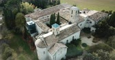 romanesk : View from drone of the ancient Romanesque monastery of Sant Benet de Bagess, Catalonia, Spain