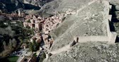 defensiva : Albarracin on the background of the city of Aragon, Spain