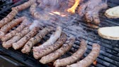 spiced : Picnic dish. Sausages being grilled on burning outdoors brazier Stock Footage