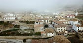 navarre : Small Spanish City of Navalre seen from drone in autumn day, Navarre