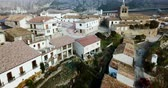 ziegeldach : Aerial view of Liedena cityscape - typical village of Navarre in autumn day, Spain
