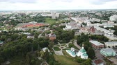 taşra : View from drones of city center and Golden Gate in Vladimir, Russia Stok Video