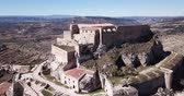 ziegeldach : Spanish walled city Morella - Aerial view of Castillo de Morella Stock Footage