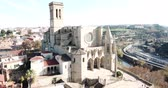 aziz : Above view Collegiate Basilica of Santa Maria in Manresa, Spain Stok Video