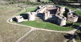 держать : Beautiful panoramic view from drone of Forteresse de Salses, France Стоковые видеозаписи