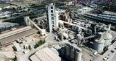 sorumluluk : Industrial background with large cement factory. Aerial view Stok Video