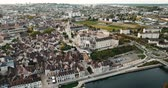 reddish : Auxerre cityscape with Abbey of Saint-Germain, Burgundy, France