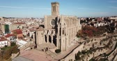 yerleri : Above view Collegiate Basilica of Santa Maria in Manresa, Spain Stok Video