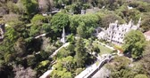 palácio : Quinta da Regaleira Palace in the municipality of Sintra. Panoramic view from drone. Portugal
