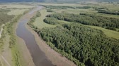 Picturesque landscape of central Russia with floodplain meadows along Oka River Stock Footage