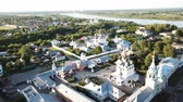 Panoramic aerial view of Trinity and Annunciation Monasteries in Murom Stock Footage