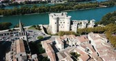 Beautiful panoramic view of Chateau de Tarascon from drone at sunny day