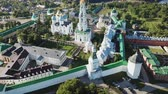 Panoramic view of the unique monastery complex of Trinity Lavra of St. Petersburg. Sergius in sunny day, Sergiev Posad, Moscow region, Russia