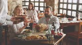 Restaurant with relaxed diners people Stock Footage