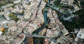 navarre : Aerial view of Estella-Lizarra - Spanish old town on Ega river