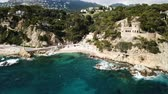 View from the drone of the Castell den Playa in the Mediterranean coastal town of Lloret de Mar, Catalonia, Spain