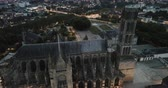 Aerial night view of famous gothic cathedral in Limoges, France, Europe