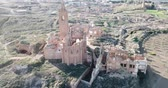 Aerial view of the town of Belchite 무비클립