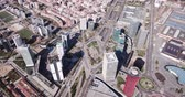 Panoramic aerial view of Gran Via and Placa dEuropa with modern skyscrapers Stok Video