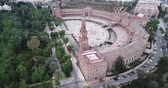 Plaza de Espana at Sevilla with park, view from drone, Andalusia, Spain 무비클립