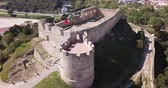 Aerial view of Graca Monastery and fortress landmark of Torres Vedras, Portugal Stok Video