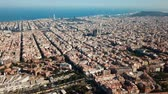 Urban landscape in Barcelona, panoramic view from drone of Eixample district