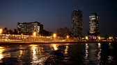 port of barcelona : Evening view of the new seaside of Barcelona - center of nightlife. Catalonia, Spain