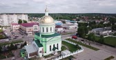 classicism : Ozyory, Russia - May 13, 2019: Aerial panoramic view of the Ozyory of the Holy Trinity Church, Russia