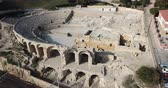 coliseu : Aerial view of ruins of ancient Roman amphitheater in Spanish city of Tarragona