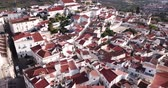 taşra : Picturesque aerial view of Elvas cityscape overlooking of Old Catholic Cathedral in sunny day, Portugal