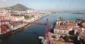 modernism : Aerial  view of Vizcaya bridge over the river and cityscape at Portugalete, Spain