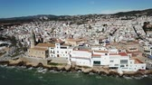 taşra : Panorama of coastal city of Sitges with building of church, Barcelona, Spain