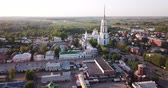 부활 : Scenic view from drone of Shuya cityscape on bank of Teza River with Resurrection Cathedral and belfry, Russia 무비클립