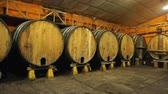 enology : Inside view of Asturian Sidreria with wooden cider barrels
