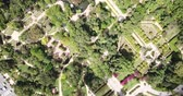 garden paths : Parque de Maria Luisa — Maria Luisa Park in Seville, view from above. Andalusia, Spain Stock Footage