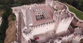 歴史的価値のある : Aerial view of impressive Spanish Mudejar architecture of Castle in Coca municipality, central Spain