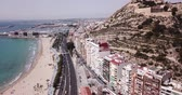 alicante : ALICANTE, SPAIN - APRIL 17, 2019: Aerial view of holiday sand beach and city Alicante, Spain