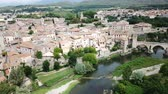 kırmızımsı : View from drone of medieval Spain town of Besalu with Romanesque bridge over Fluvia river