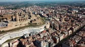 romanesk : Aerial view of cityscape of Lleida and main historical sightseeing Old Gothic Cathedral, Catalonia, Spain