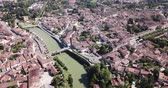 czerwiec : Panoramic view from the drone on the city Condom. France Wideo