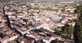 csempézett : Aerial view of summer cityscape of small French town of Marmande overlooking Gothic building of Our Lady Church