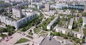 green area : Scenic view from drone of modern cityscape of Russian city of Stary Oskol