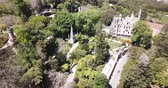 mimari : Picturesque landscape with palace Quinta da Regaleira, Unesco Heritage near historic center of Sintra, Portugal Stok Video