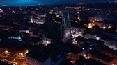 world locations : View of Burgos city illuminated at dusk and of famous cathedral in Castilla y Leon, Spain