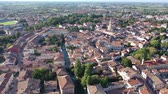watercourse : Aerial view of residential areas of Italian town of Portogruaro in sunny autumn day