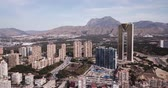 alicante : Panoramic view of resort sand coast and buildings of city Benidorm, Spain