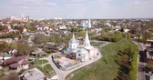 bell : Scenic cityscape of Russian town of Serpukhov overlooking church steeples in sunny spring day